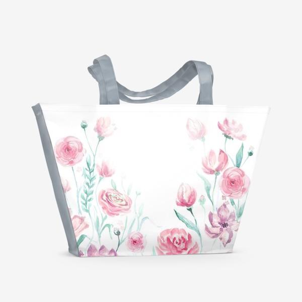 Пляжная сумка «цветы акварель»