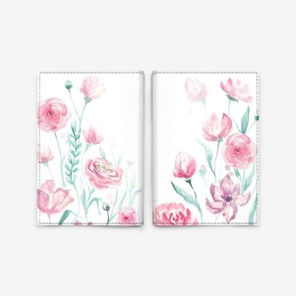Обложка для паспорта «цветы акварель»