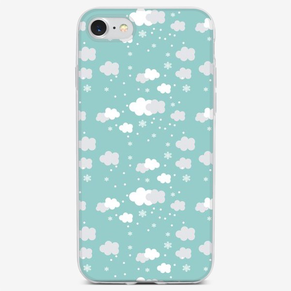 Чехол iPhone «Облака бирюзовый»