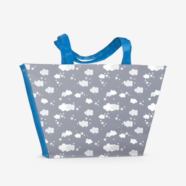 Пляжная сумка «Облака серый»