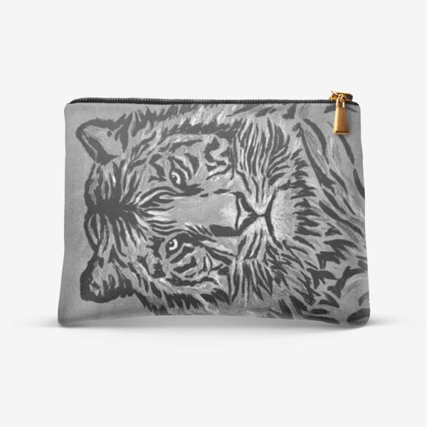 Косметичка «Мудрый тигр серый»