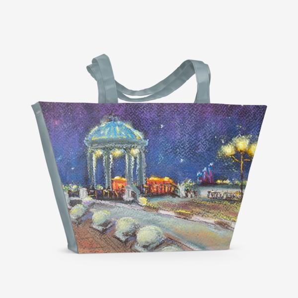 Пляжная сумка «Ночной город Набережная Фонари Пастель»