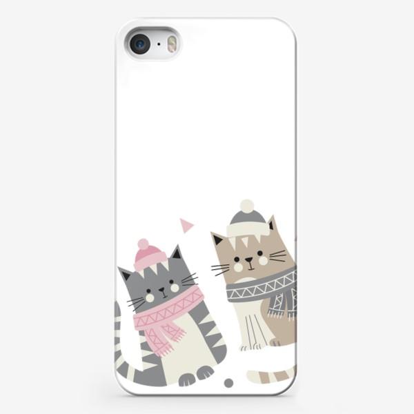 Чехол iPhone «Зимние котики»