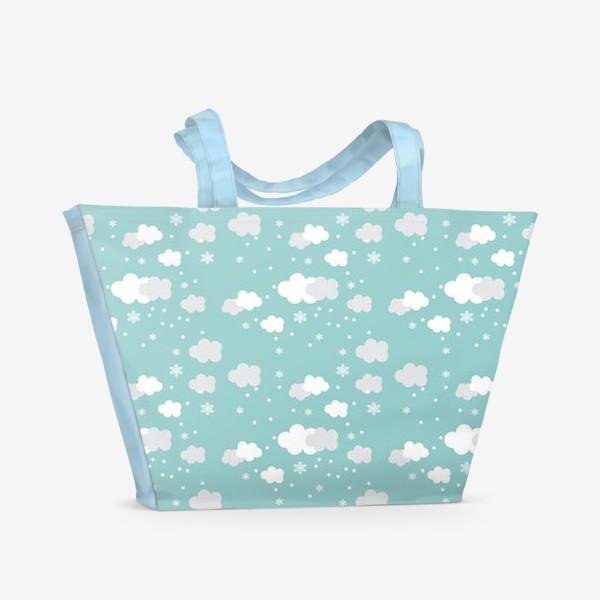 Пляжная сумка «Облака бирюзовый»