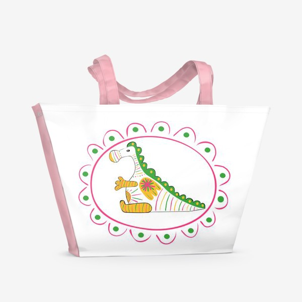Пляжная сумка «Дракон символ 2024 года по восточному гороскопу в стиле Филевская игрушка»