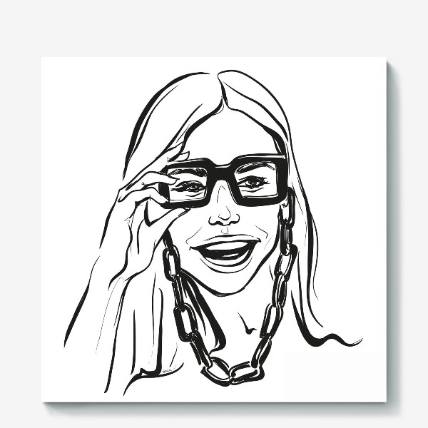 Холст «Fashion | Девушка с очками»