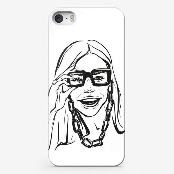 Чехол iPhone «Fashion | Девушка с очками»