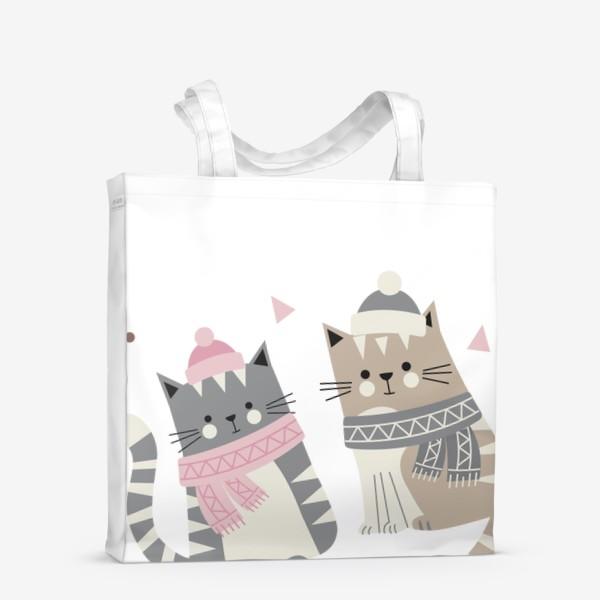 Сумка-шоппер «Зимние котики»
