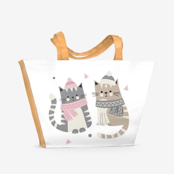 Пляжная сумка «Зимние котики»