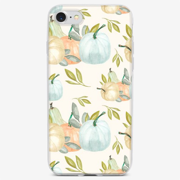 Чехол iPhone «Осенний паттерн. Тыквы акварельные»