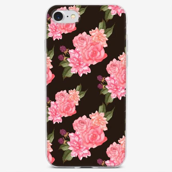 Чехол iPhone «Паттерн георгины и розы на темном»