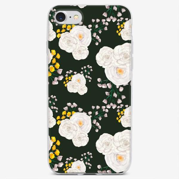 Чехол iPhone «Паттерн белые цветы на темно-зеленом фоне»
