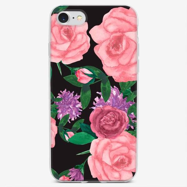 Чехол iPhone «Паттерн цветы на темном»