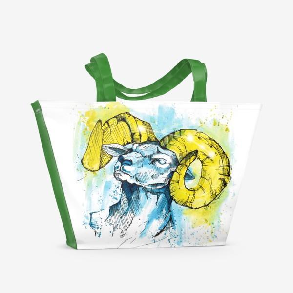 Пляжная сумка «Овен графика-акварель»