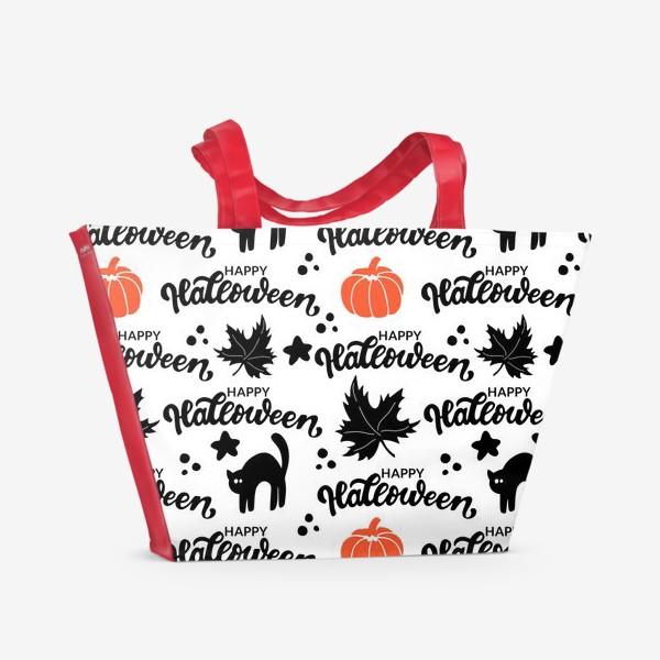 Пляжная сумка «Хэллоуин: черная кошка, оранжевая тыква. Happy halloween. »