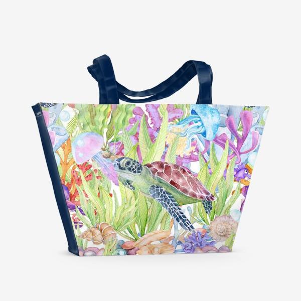 Пляжная сумка «Морская черепаха бесшовный рисунок»