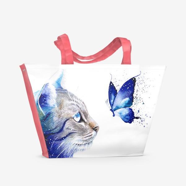 Пляжная сумка «Космос. Кот и бабочка»