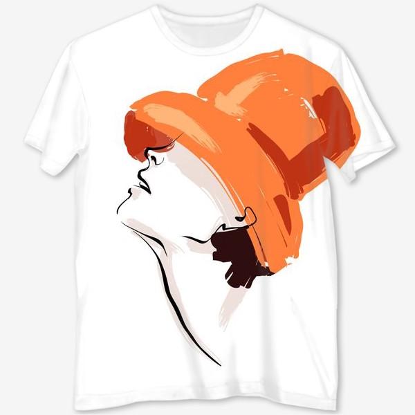 Футболка с полной запечаткой «Fashion   Девушка в шляпе»