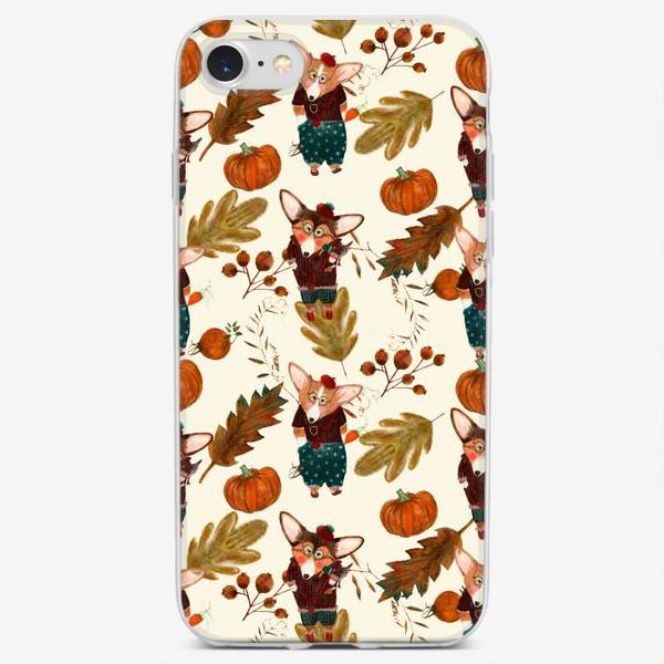 Чехол iPhone «Осенний корги»