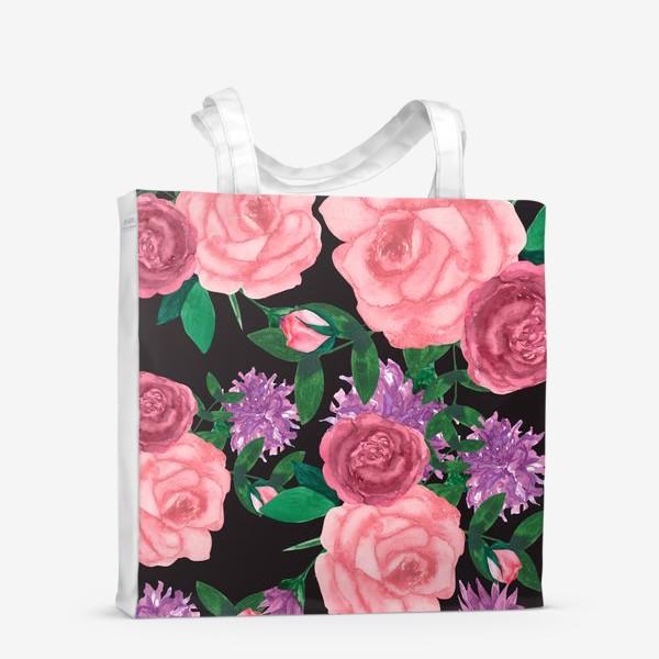 Сумка-шоппер «Паттерн цветы на темном»