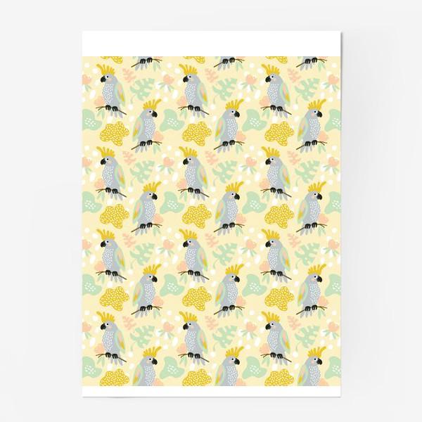 Постер «серые какаду на ветках с тропическими листьями»