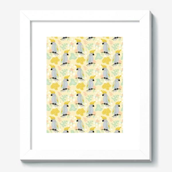 Картина «серые какаду на ветках с тропическими листьями»