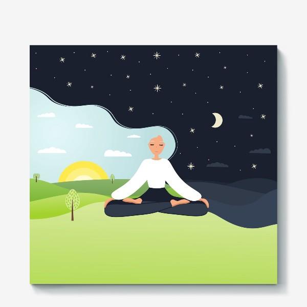 Холст «Йога. День и ночь. Медитация. »