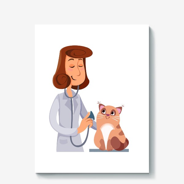 Холст «Ветеринар с котом»