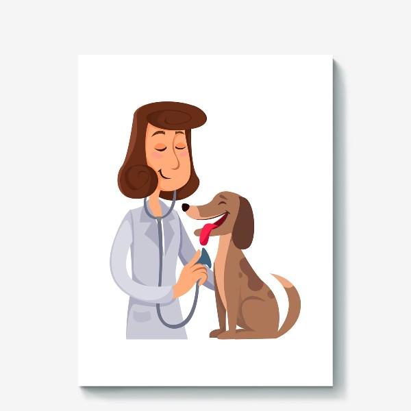 Холст «ветеринар с собакой»