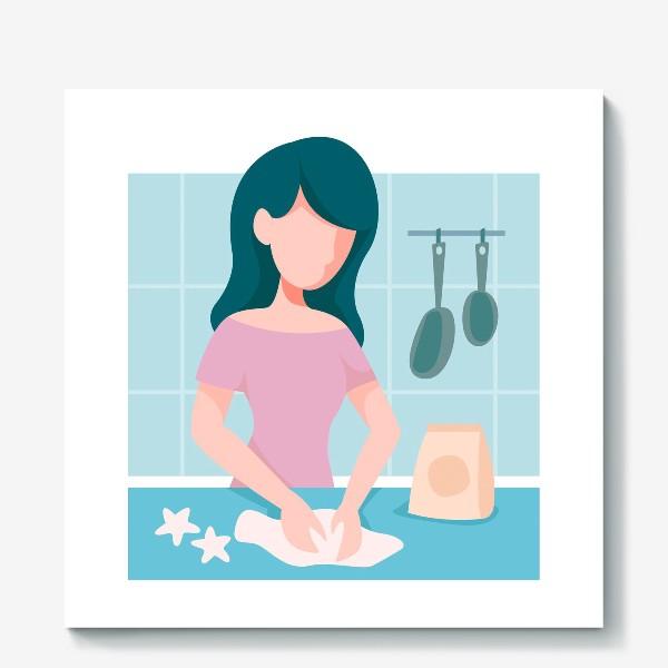 Холст «девушка кондитер или повар»
