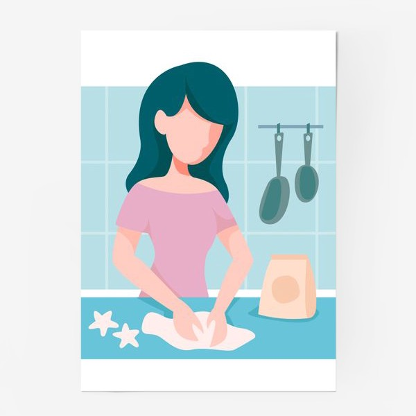 Постер «девушка кондитер или повар»