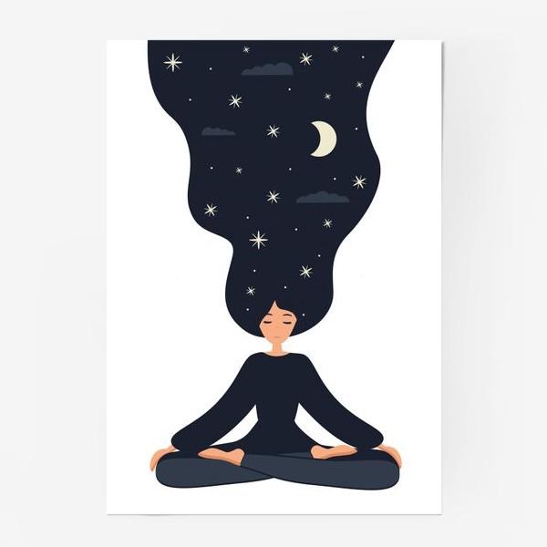 Постер «Йога. Девушка медитирует в позе лотоса. Ночь»