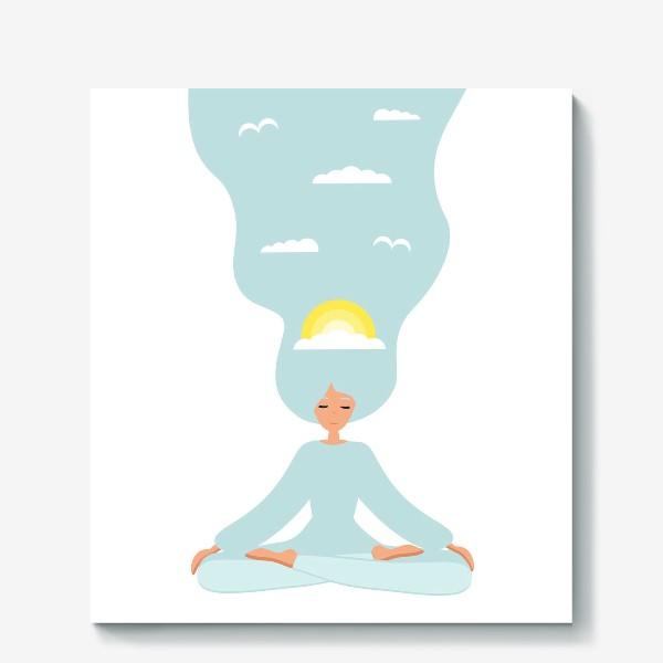 Холст «Йога. Девушка медитирует в позе лотоса. День»