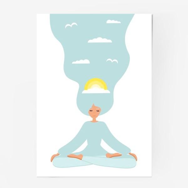 Постер «Йога. Девушка медитирует в позе лотоса. День»