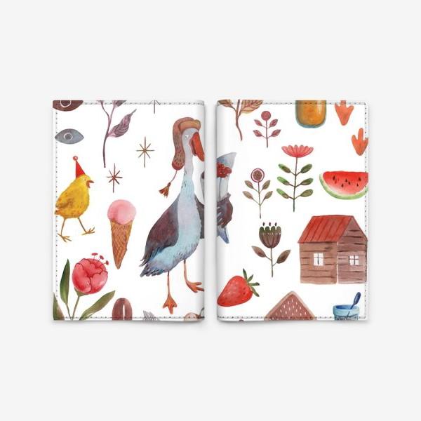 Обложка для паспорта «Гусь в шапке, цыпленок, листья, цветы и так далее. Акварель.»