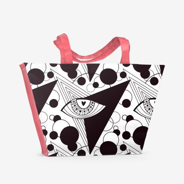Пляжная сумка «Взгляд в космос. Всевидящее око. Черно-белый узор с глазами»
