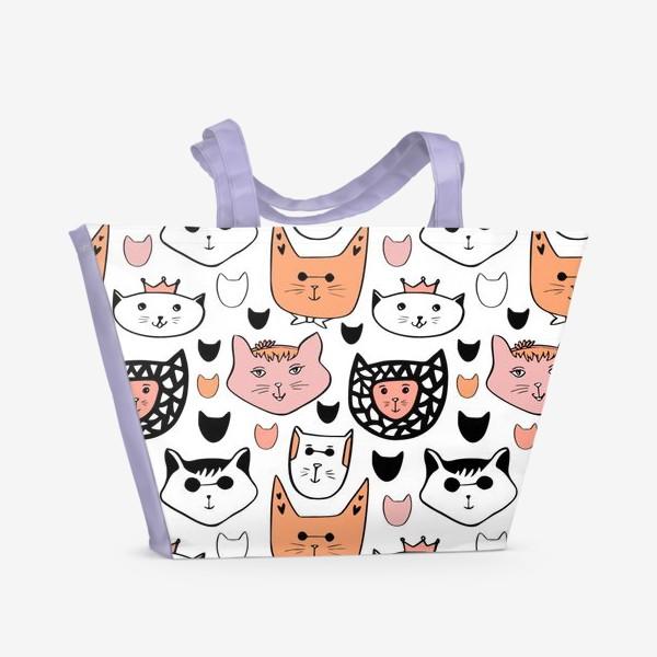 Пляжная сумка «Теплые коты. Паттерн с котиками»