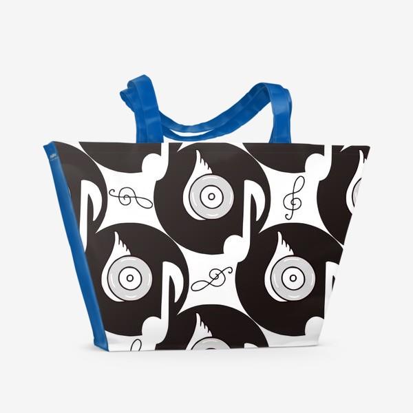 Пляжная сумка «Виниловые пластинки.  Музыка вечна»