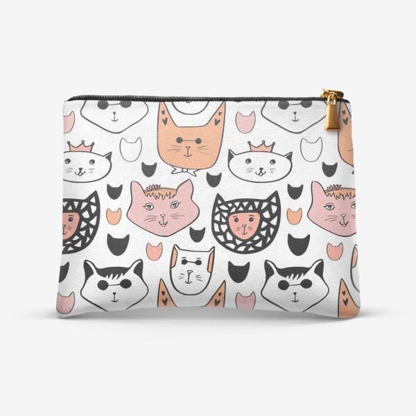 Косметичка «Теплые коты. Паттерн с котиками»