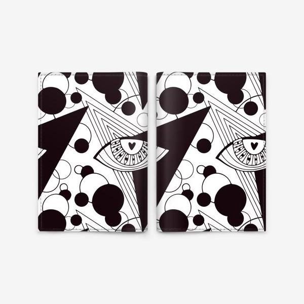 Обложка для паспорта «Взгляд в космос. Всевидящее око. Черно-белый узор с глазами»
