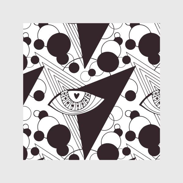 Скатерть «Взгляд в космос. Всевидящее око. Черно-белый узор с глазами»