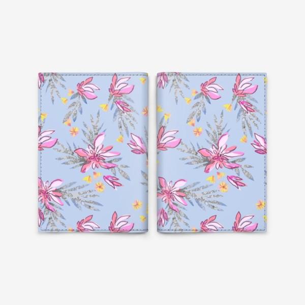 Обложка для паспорта «Пышные цветы на голубом»