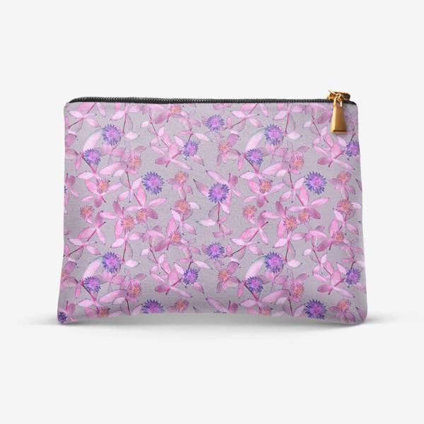 Косметичка «Розовые веточки и махровые цветы »