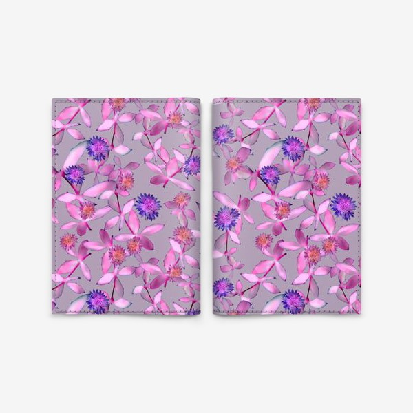 Обложка для паспорта «Розовые веточки и махровые цветы »