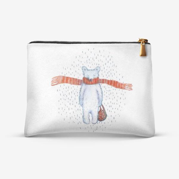 Косметичка «Белый медведь в красном шарфе. Зима. Акварель. Прозрачный фон.»