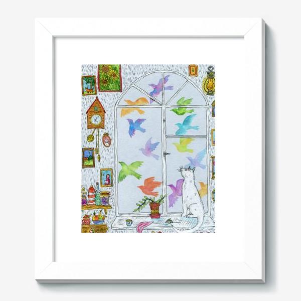 Картина «Белый кот и разноцветные птицы»