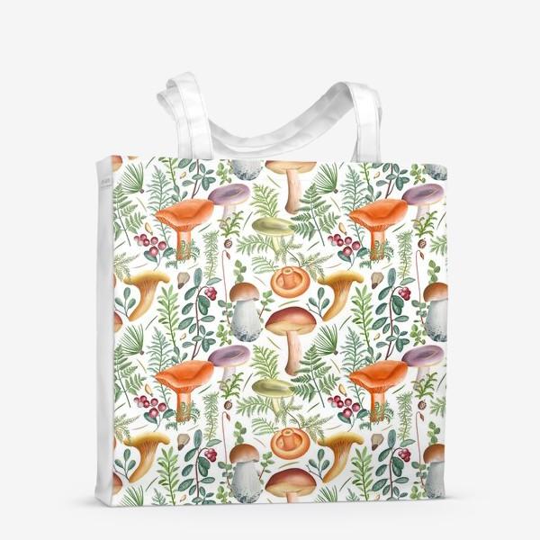 Сумка-шоппер «Грибной лес (грибы, мох, ягоды)»