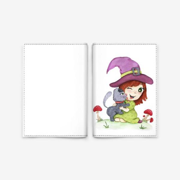 Обложка для паспорта «Ведьмочка и котик»