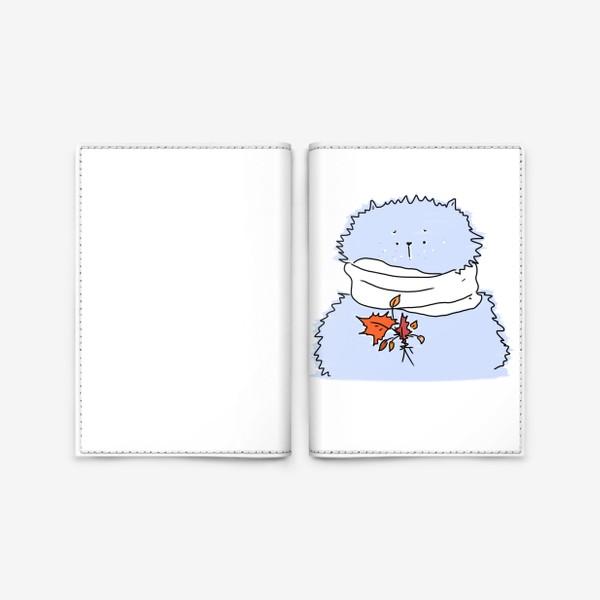 Обложка для паспорта «Осенний морозный кот с листиками»