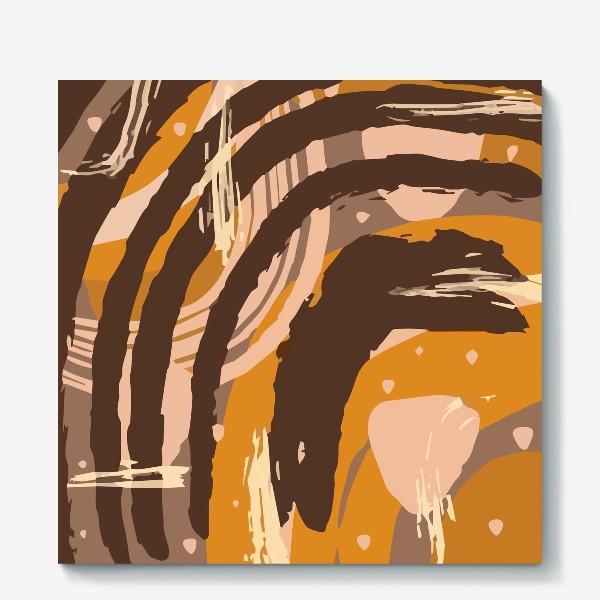 Холст «Современный модный абстрактный узор в коричневых пастельных тонах. пятна, овалы, круги, разводы»